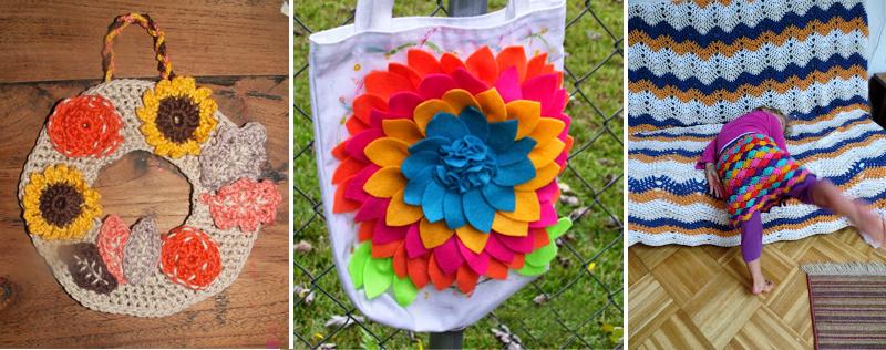 Crocheted wreath,felt flower bag,ripple blanket