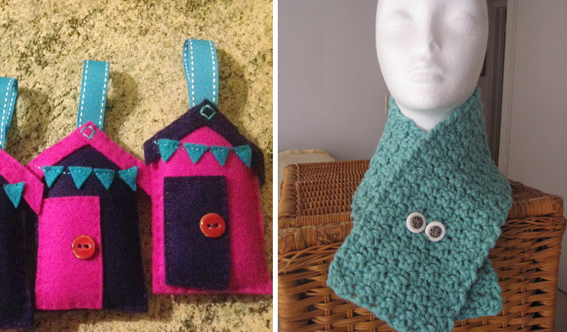 Stuffed little houses ornaments,1 hour neck crocheted neck warmer