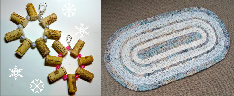 Wine cork snowflakes,crocheted rag rug