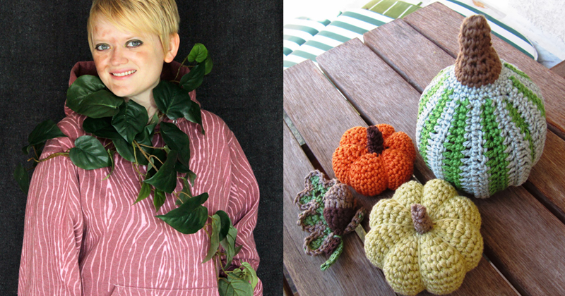 Wood grain sweatshirt,crocheted pumpkins and goard