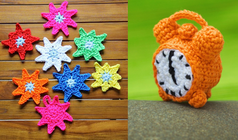 Crocheted alarm clock,stars