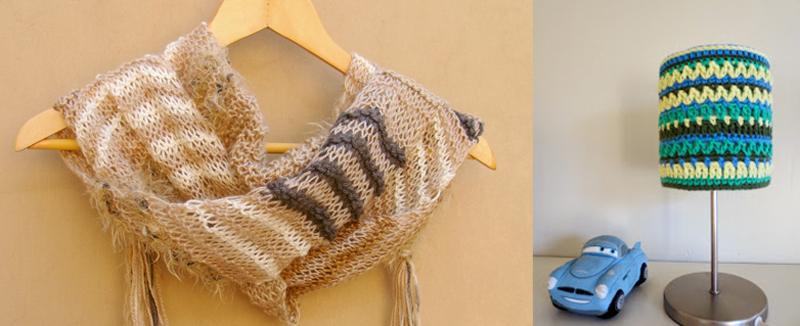 Crocheted lamp shade, hybrid knit scarf