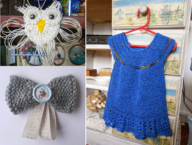 Knit bow,crocheted girls dress,owl