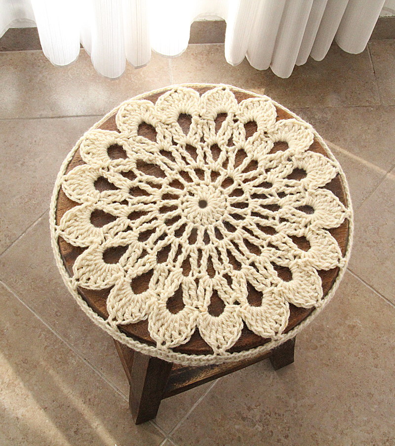 Crocheted Doily Stool Cover