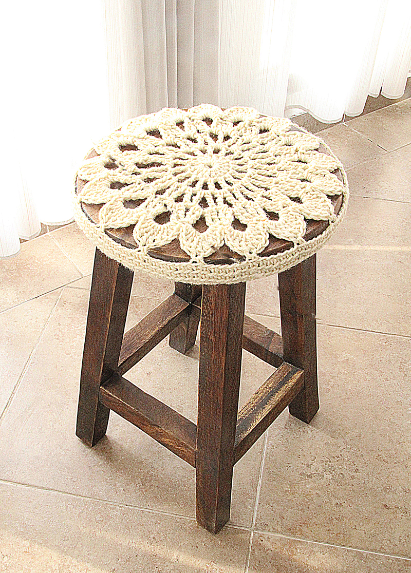 Crocheted Doily Stool Cover Side View