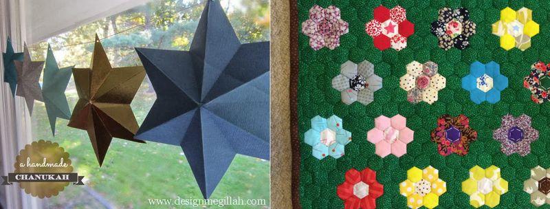 Chanukah paper stars,doll quilt