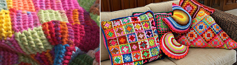 Crochet entrelac,and granny crochet pillow collection