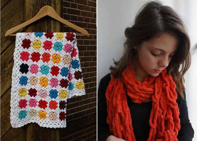 Arm knitting scarf,mini granny blanket