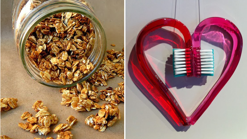 Toothbrush heart craft,crockpot granola