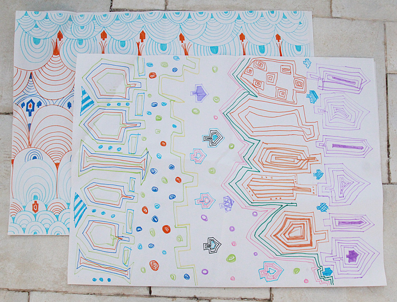 Doodle Wrapping Paper For Chanukah Kid's Craft With Markers