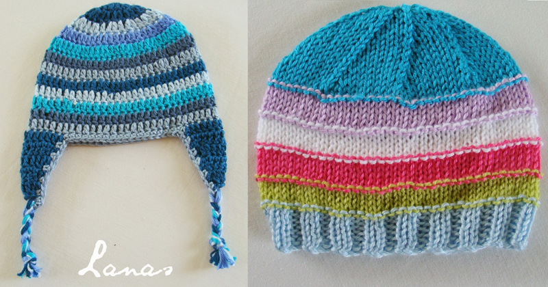 Crocheted and knit stash hats