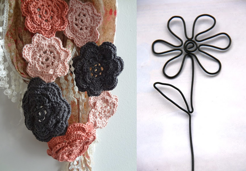 Crocheted flower scarf,wire flower