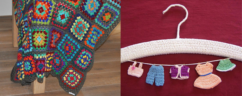 Granny square afghan,hanger with tiny crocheted clothes