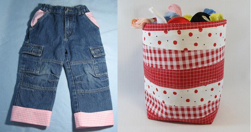 Lengthening jeans,fabric scraps basket