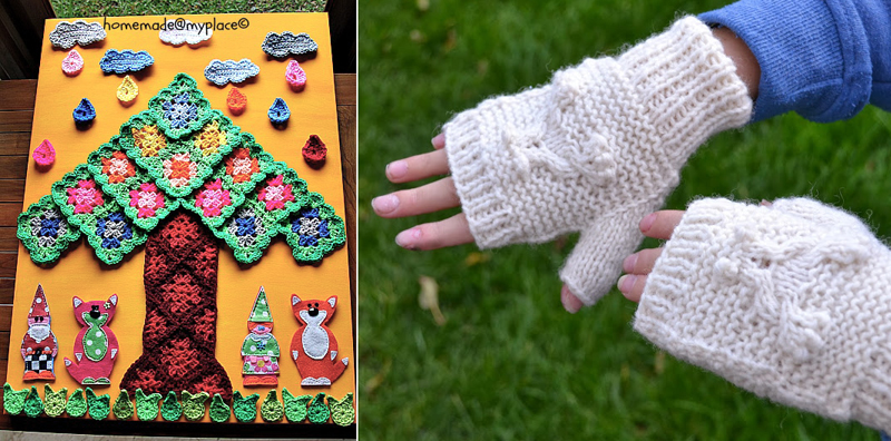 Crochet applique on canvas wall art,knit fingerless gloves