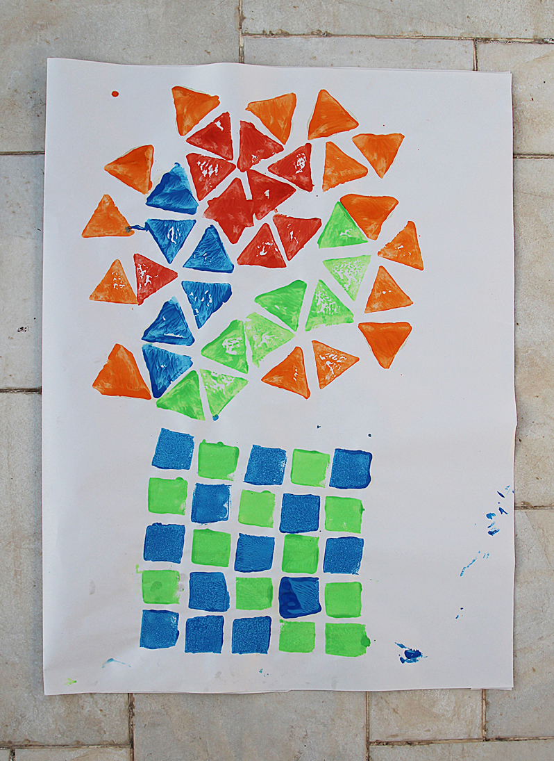 Potato Print Wrapping Paper Geometric