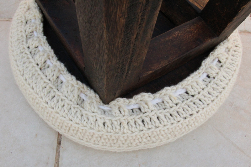 Crocheted Stool Cover underside view