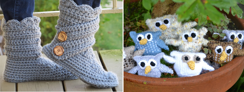 Crocheted boots, knit tiny owls