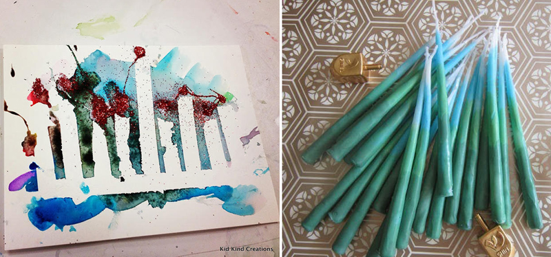 Hand dipped chanukah candles, chanukah craft reverse painting