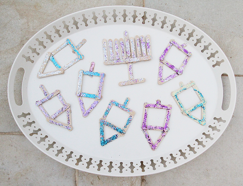 Chanukah Popsicle Stick Craft For Kids With Glitter