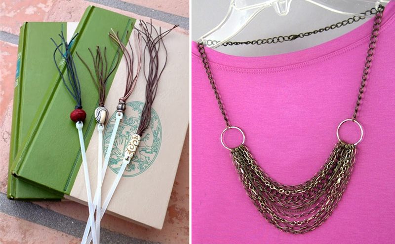 Zip tie bookmarks,chain necklace