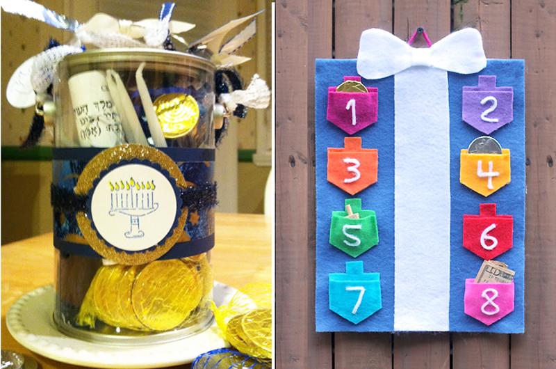 Chanukah in a box,felt dreidel wall hanging