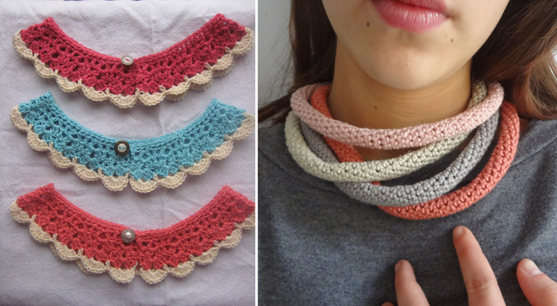 Crocheted collars, crocheted tube necklace