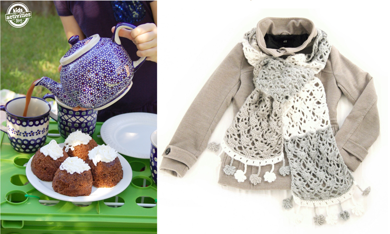 Crocheted lacy scarf,cake in a mug muffins