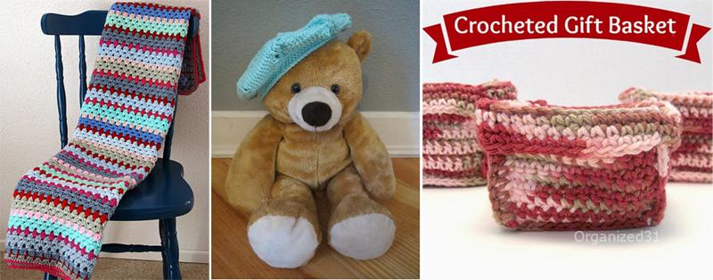Granny stripe baby blanket,crocheted baby beret,crocheted gift basket