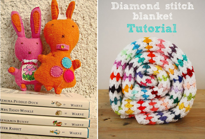 Felt bunnies,crochet diamond stitch blanket tutorial