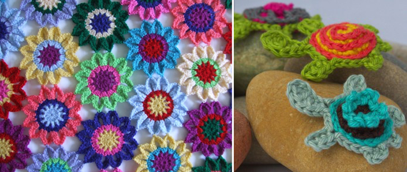 Crocheted turtle applique pattern,flower blanket