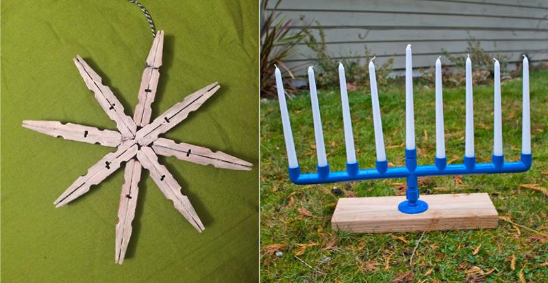 Pvc pipe chanukiah,clothespin snowflake