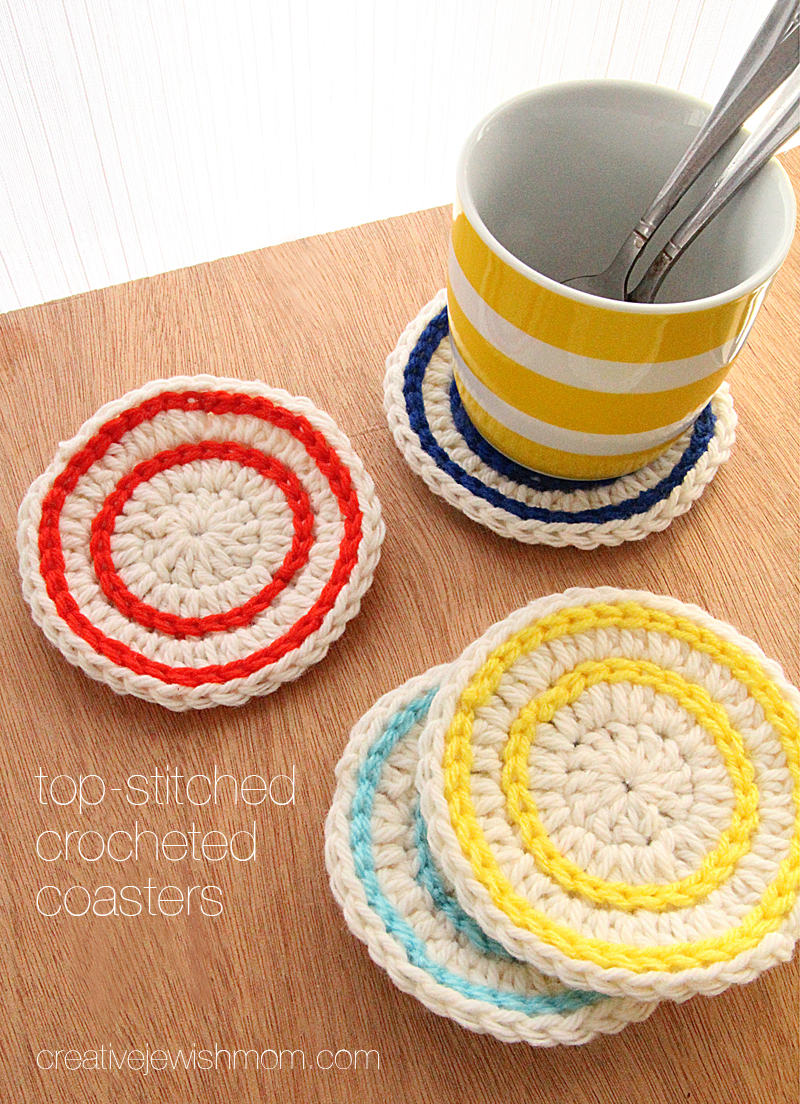 Crocheted top stitch stripes super simple coasters