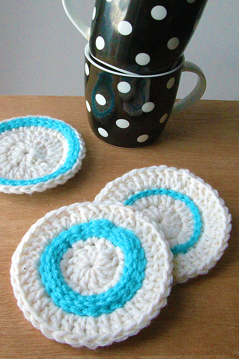 Crocheted Coasters With Top Stitching