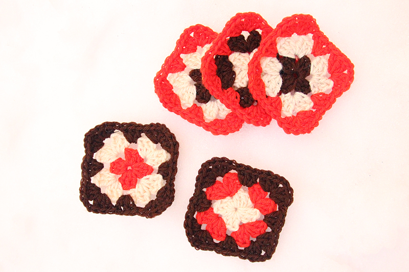 Crocheted Granny Squares Red, Brown, Creme