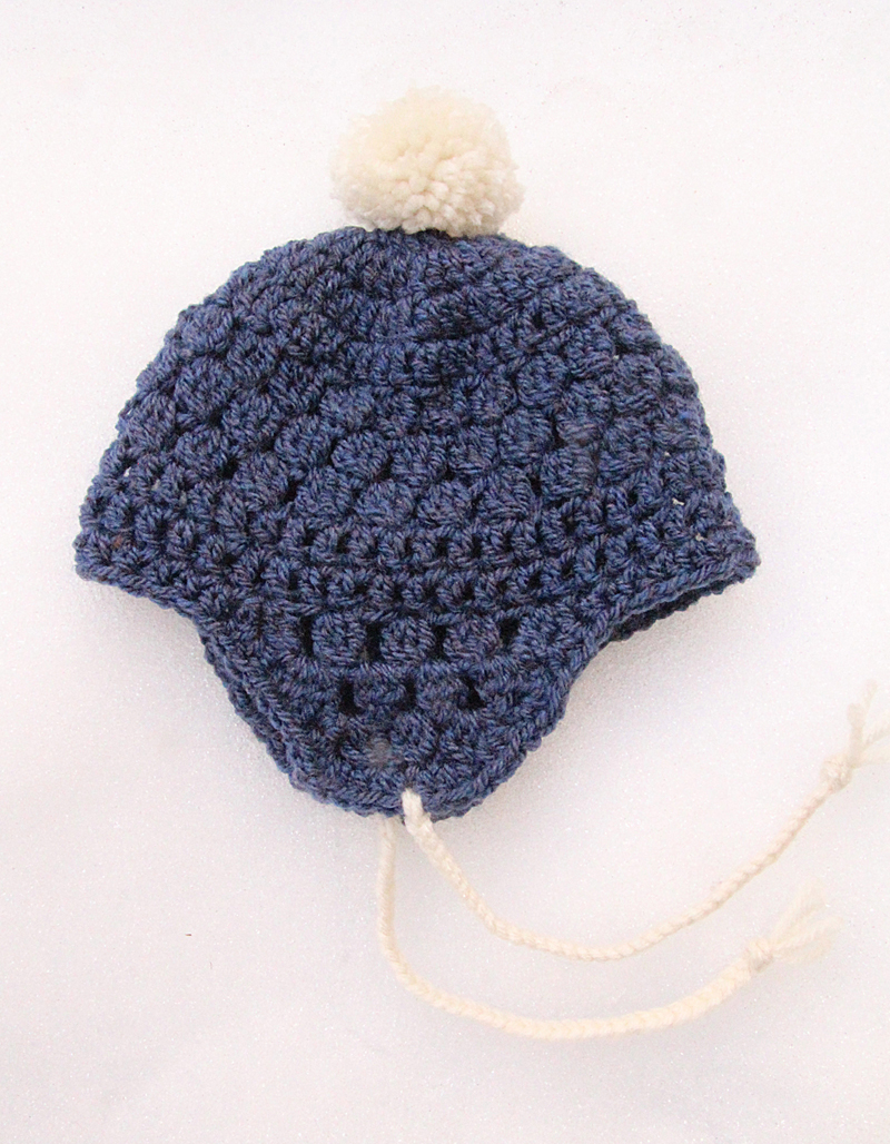 Crocheted Baby Hat With Ear Flaps