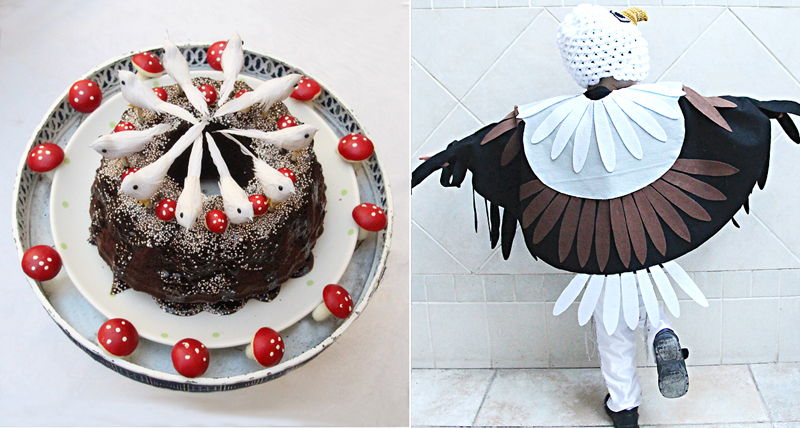 Shabbat shira bird cake, eagle costume