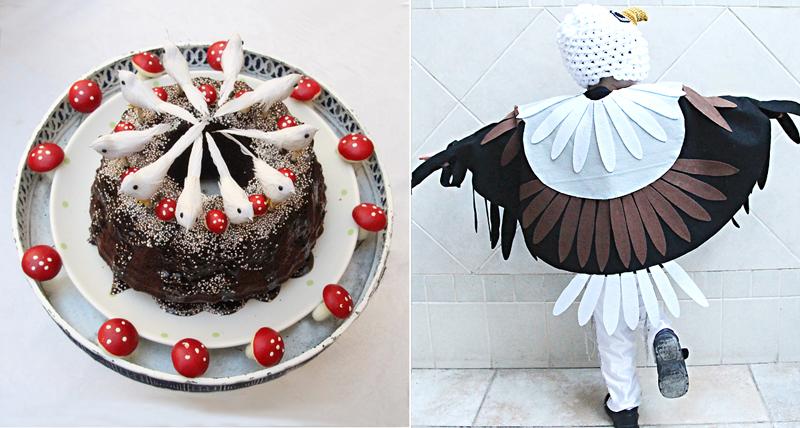 Shabbat shira bird cake, eagle costume