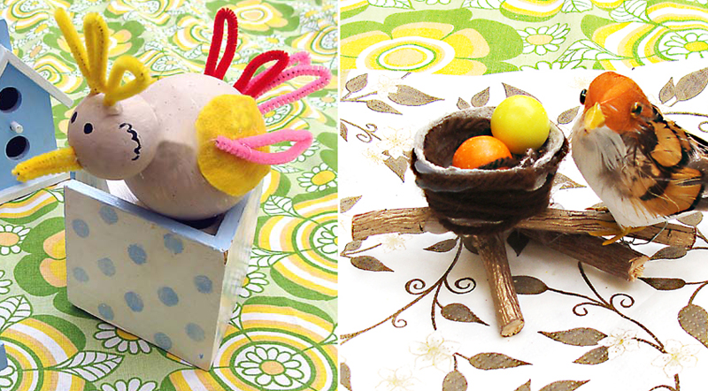 Shabbat shira styrofoam ball birds,egg carton and twigs bird's nest