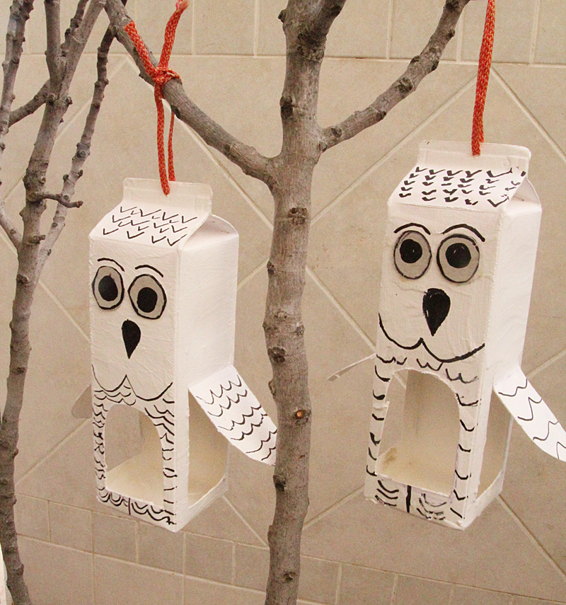 Milk Carton Bird Feeder Craft Owl