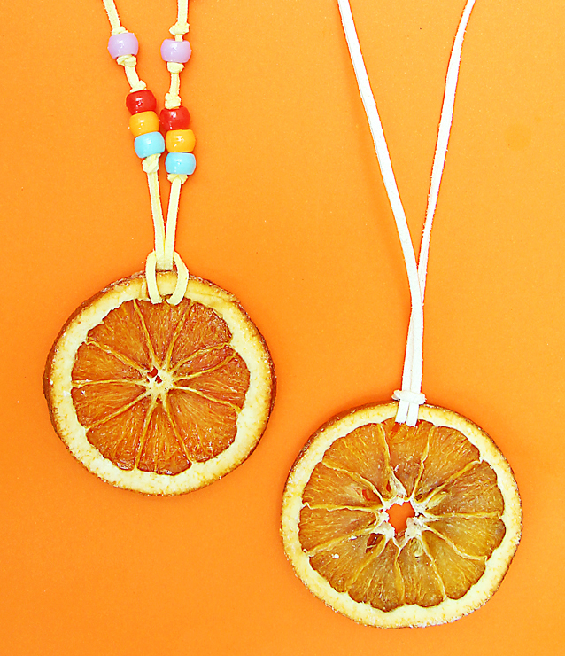 Tu B'shevat roundup. orange slice necklaces