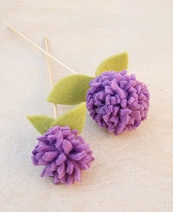 Fleece Pom Pom Flower Craft For Kids And Adults