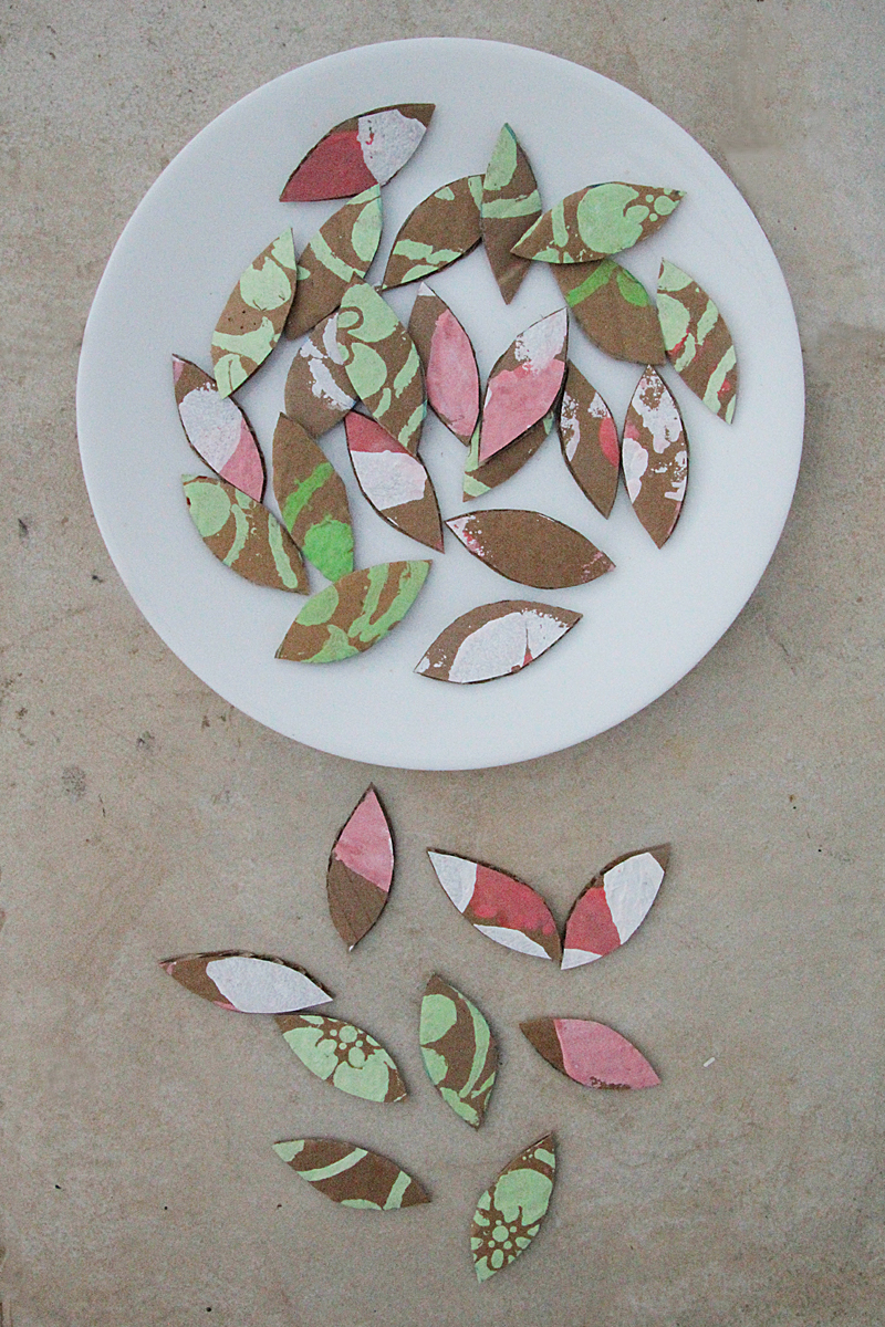 Cardboard box leaves for crafting
