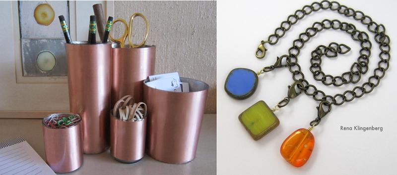 Copper covered desk organizer, interchangable pendant necklace