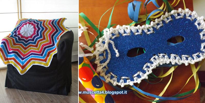 Star-shaped-crochet-blanket, crocheted edge masquerade mask