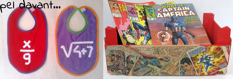 Fun math bibs,upcycled comic book decoupaged crate