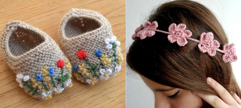 Forget me not crocheted headband,embroidered knit booties