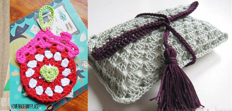 Crocheted clutch,granny house