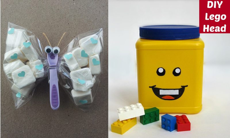 Butterfly clothespin treat bag, lego head upcycled container
