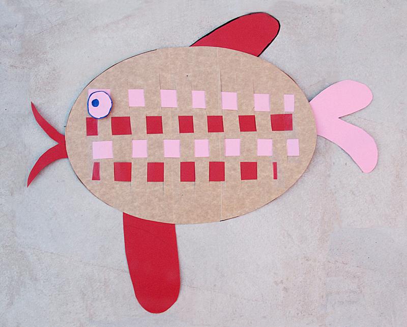 Kids craft woven paper fish
